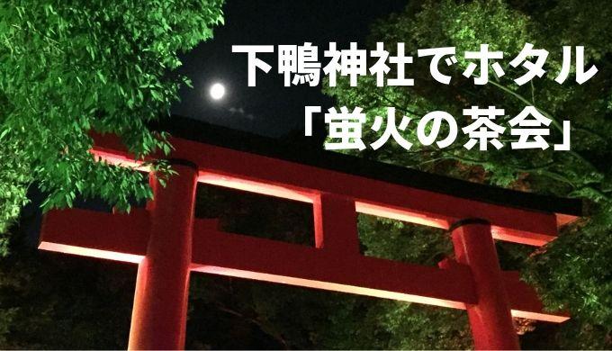 下鴨神社 ホタル 蛍火の茶会 糺の森納涼市